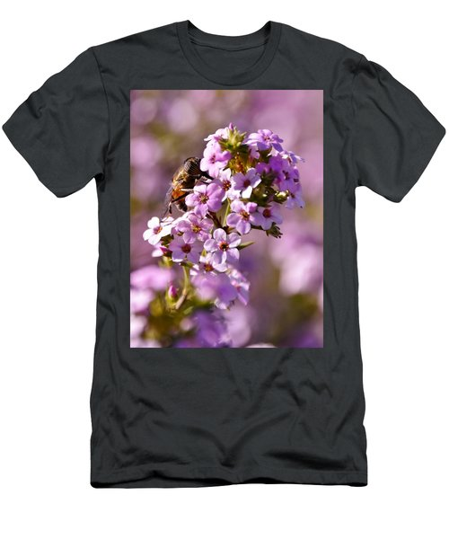 Purple Blossoms And Hoverfly Men's T-Shirt (Slim Fit) by Werner Lehmann