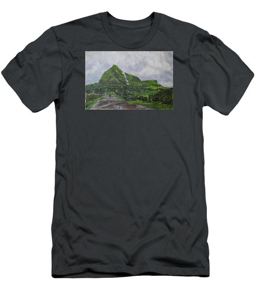 Men's T-Shirt (Slim Fit) featuring the painting Visapur Fort by Vikram Singh