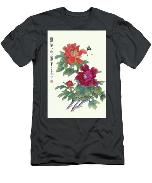 Red Peonies Men's T-Shirt (Slim Fit) by Yufeng Wang