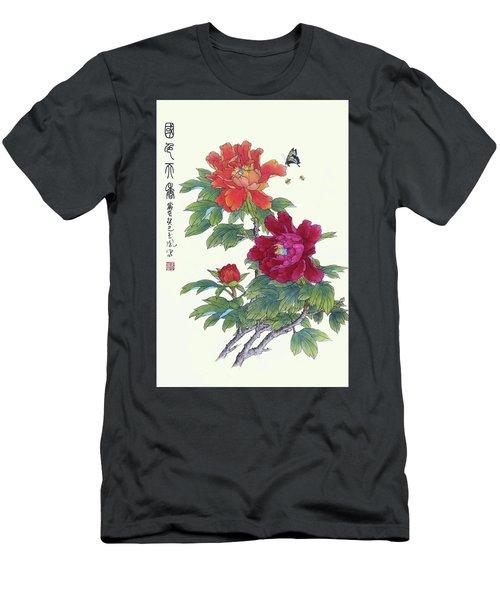 Red Peonies Men's T-Shirt (Slim Fit) by Yufeng Wang