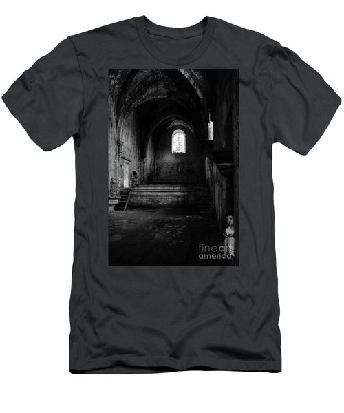 Men's T-Shirt (Slim Fit) featuring the photograph Rioseco Abandoned Abbey Nave Bw by RicardMN Photography