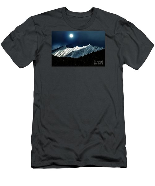Rocky Mountain Glory In Moonlight Men's T-Shirt (Slim Fit) by Elaine Hunter