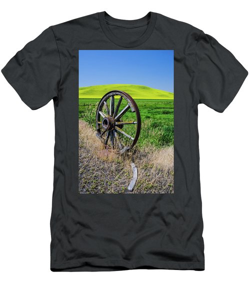 Rustic Wagon Wheel In The Palouse Men's T-Shirt (Slim Fit) by James Hammond