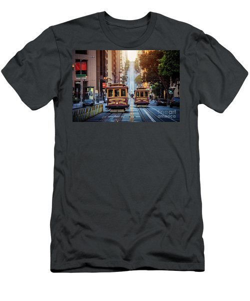 San Francisco Cable Cars Men's T-Shirt (Slim Fit) by JR Photography