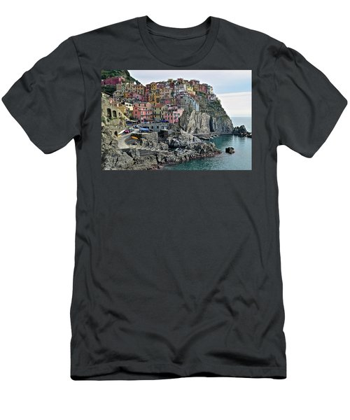 Men's T-Shirt (Slim Fit) featuring the photograph Seaside Village by Frozen in Time Fine Art Photography