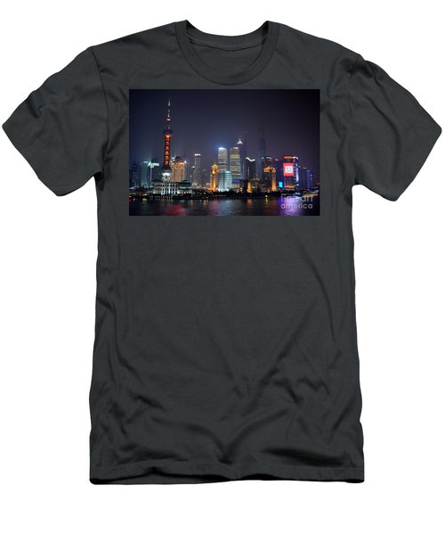 Shanghai China Skyline At Night From Bund Men's T-Shirt (Athletic Fit)