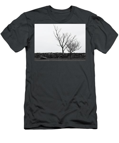 Stone Wall With Trees In Winter Men's T-Shirt (Slim Fit) by Nancy De Flon