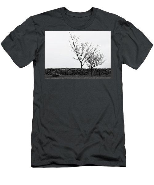 Stone Wall With Trees In Winter Men's T-Shirt (Slim Fit) by Nancy De Flon