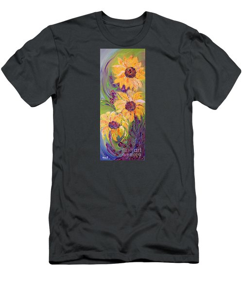 Men's T-Shirt (Slim Fit) featuring the painting Sunflowers by AmaS Art