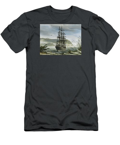 Men's T-Shirt (Slim Fit) featuring the painting Tall Ship Cove by James Williamson
