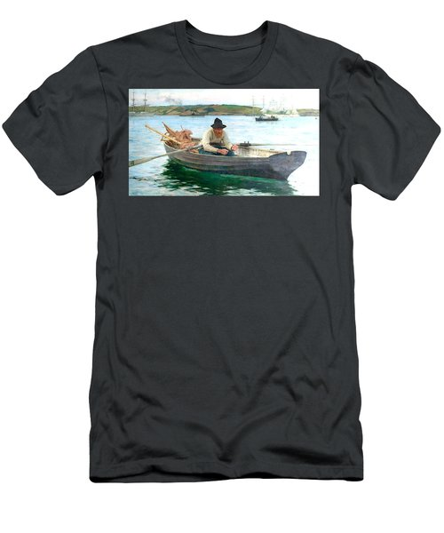 Men's T-Shirt (Slim Fit) featuring the painting The Fisherman by Henry Scott Tuke