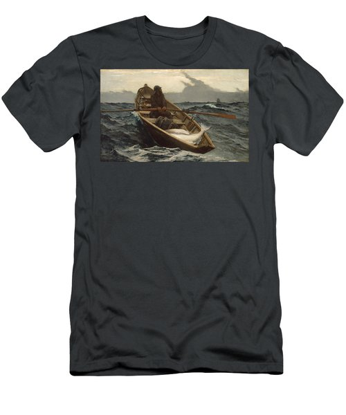 Men's T-Shirt (Slim Fit) featuring the painting The Fog Warning - 1885 by Winslow Homer