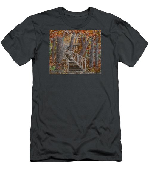 Men's T-Shirt (Slim Fit) featuring the drawing Tree House #1  by Jim Hubbard