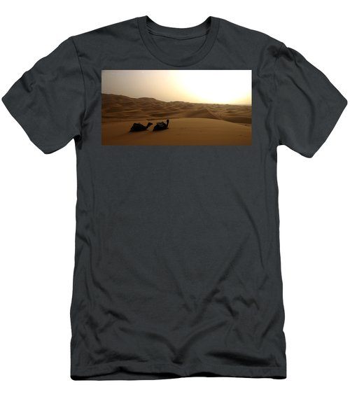 Two Camels At Sunset In The Desert Men's T-Shirt (Athletic Fit)