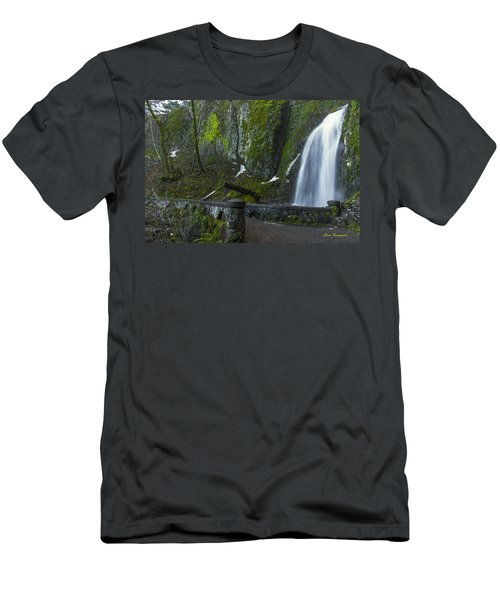 Wahkeena Falls Bridge Signed Men's T-Shirt (Athletic Fit)