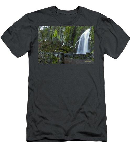 Wahkeena Falls Bridge Signed Men's T-Shirt (Athletic Fit)