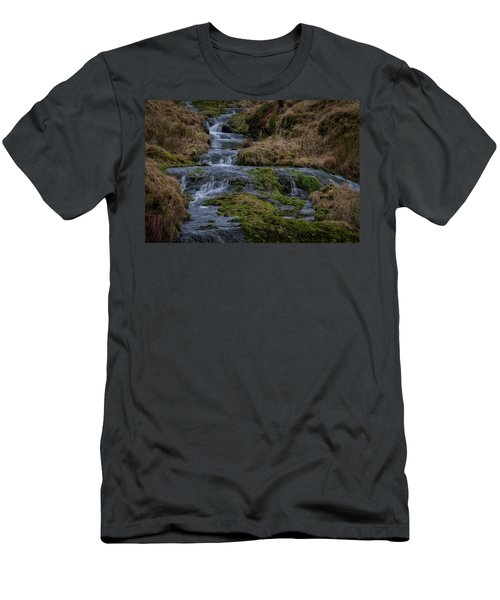 Men's T-Shirt (Athletic Fit) featuring the photograph Waterfall At Glendevon In Scotland by Jeremy Lavender Photography