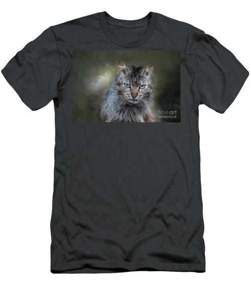 Wild Cat Portrait Men's T-Shirt (Athletic Fit)