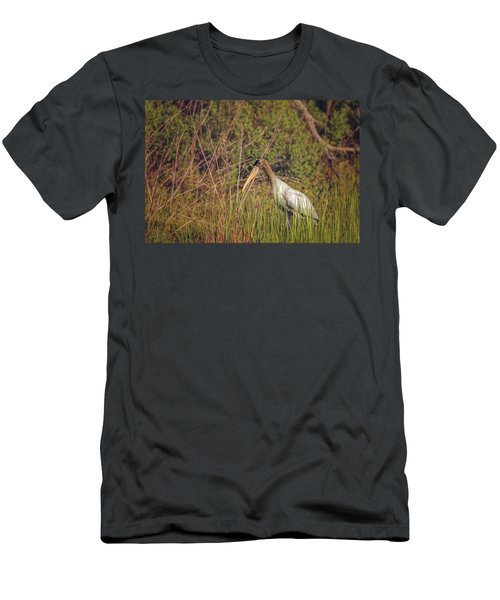 Men's T-Shirt (Athletic Fit) featuring the photograph Wood Stork by Peter Lakomy