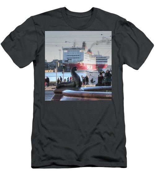 Men's T-Shirt (Slim Fit) featuring the pyrography Yury Bashkin Helsinki Finland by Yury Bashkin