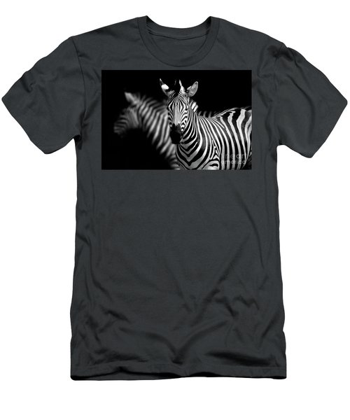 Men's T-Shirt (Slim Fit) featuring the photograph Zebra by Charuhas Images
