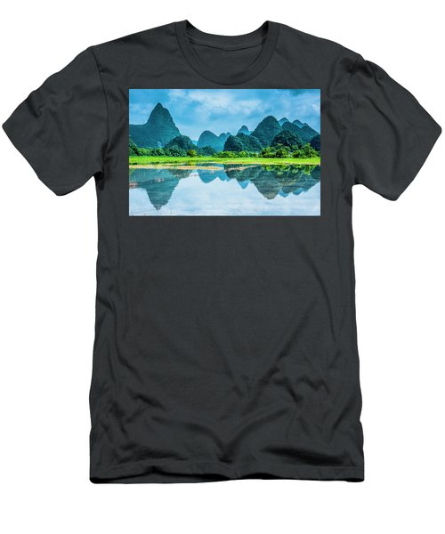 Men's T-Shirt (Athletic Fit) featuring the photograph Karst Rural Scenery In Raining by Carl Ning