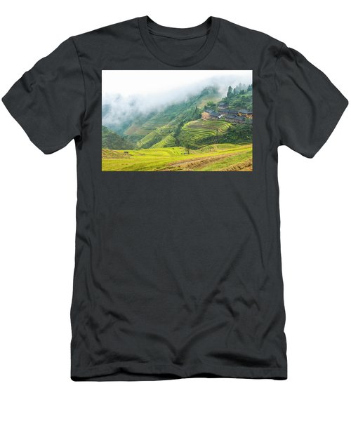 Men's T-Shirt (Athletic Fit) featuring the photograph Terrace Fields Scenery In Autumn by Carl Ning