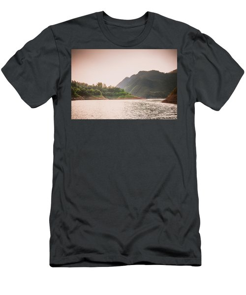 Men's T-Shirt (Athletic Fit) featuring the photograph The Mountains And Lake Scenery In Sunset by Carl Ning
