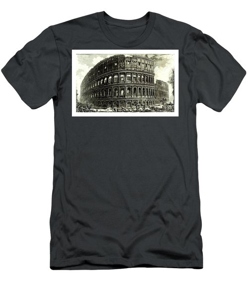 Men's T-Shirt (Athletic Fit) featuring the drawing 1810 Italian Etching Of The Ruins Of The Roman Colosseum Francesco Piranesi by Peter Gumaer Ogden