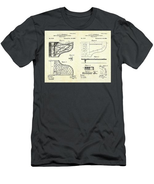 1880 Steinway Piano Forte Patent Art Sheets V2 Men's T-Shirt (Slim Fit) by Gary Bodnar
