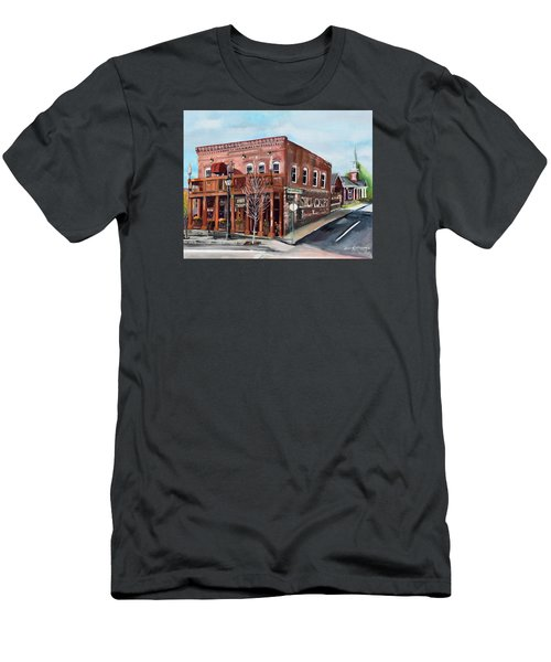 Men's T-Shirt (Athletic Fit) featuring the painting 1907 Restaurant And Bar - Ellijay, Ga - Historical Building by Jan Dappen