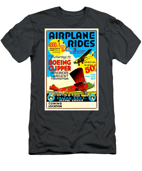 1929 Boeing Clipper Vintage Flying Circus Poster Men's T-Shirt (Athletic Fit)