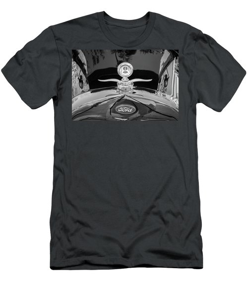 Men's T-Shirt (Slim Fit) featuring the photograph 1929 Ford Model A Hood Ornament Bw by Rich Franco