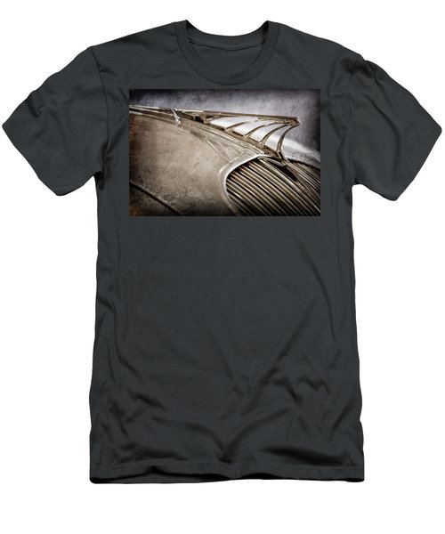 Men's T-Shirt (Slim Fit) featuring the photograph 1934 Desoto Airflow Coupe Hood Ornament -2404ac by Jill Reger