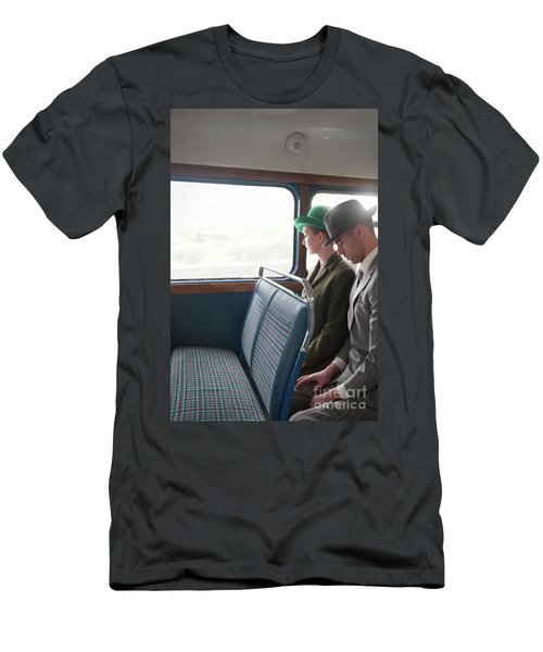 1940s Couple Sitting On A Vintage Bus Men's T-Shirt (Slim Fit) by Lee Avison