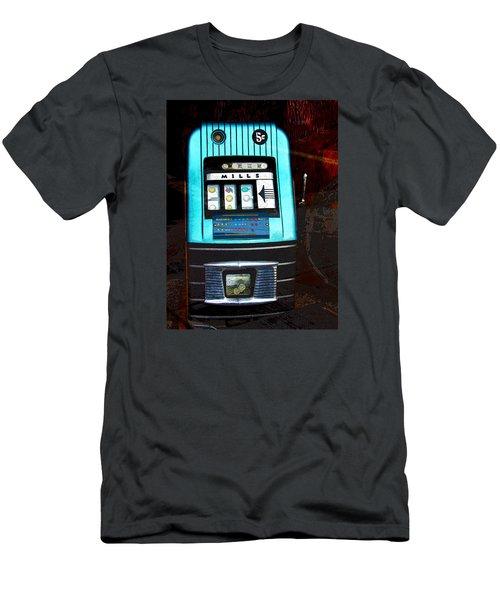 1945 Mills High Top 5 Cent Nickel Slot Machine Men's T-Shirt (Slim Fit) by Karon Melillo DeVega