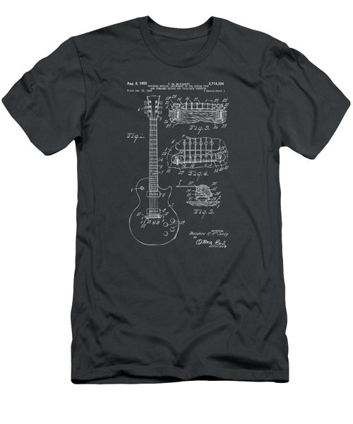 1955 Mccarty Gibson Les Paul Guitar Patent Artwork - Gray Men's T-Shirt (Slim Fit) by Nikki Marie Smith