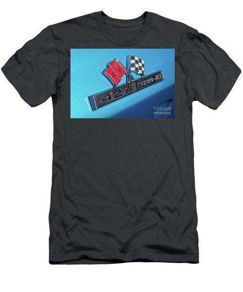 Men's T-Shirt (Slim Fit) featuring the photograph 1965 Blue Corvette 427 Turbo Jet Emblem by Aloha Art