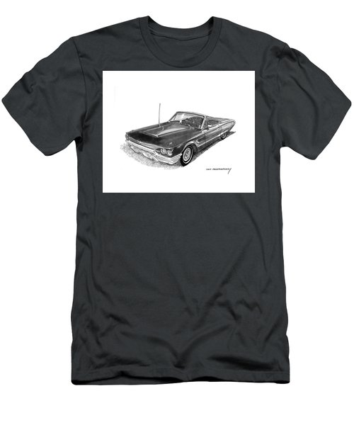 Men's T-Shirt (Slim Fit) featuring the drawing 1965 Thunderbird Convertible By Ford by Jack Pumphrey