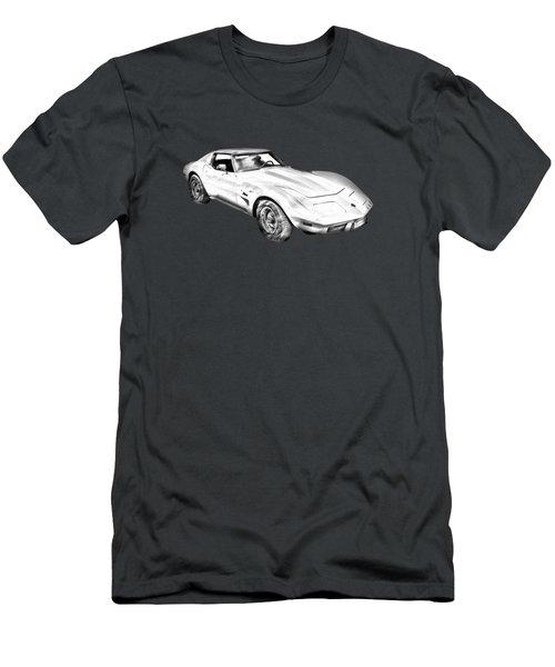1975 Corvette Stingray Sports Car Illustration Men's T-Shirt (Athletic Fit)