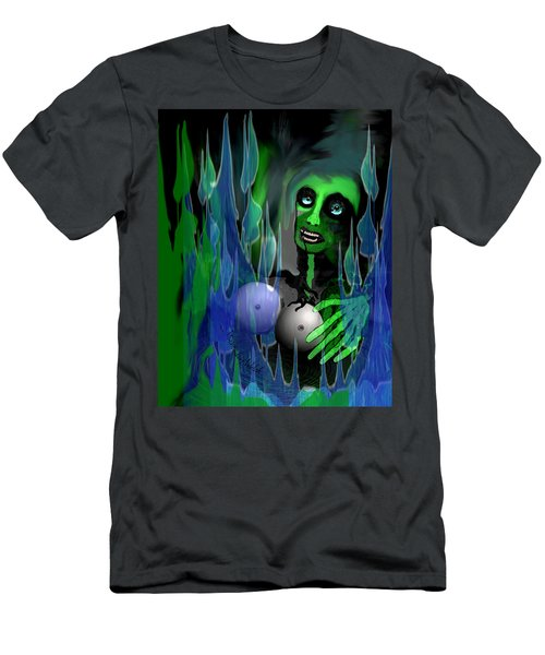 Men's T-Shirt (Slim Fit) featuring the digital art 1981 - But My New Silicon Breasts Will Last Forever 2017 by Irmgard Schoendorf Welch