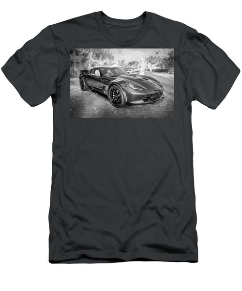 Men's T-Shirt (Slim Fit) featuring the photograph 2017 Chevrolet Corvette Gran Sport Bw by Rich Franco