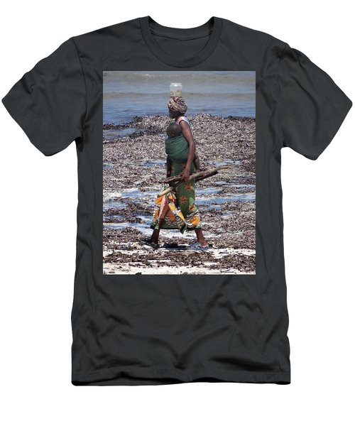 African Woman Collecting Shells 1 Men's T-Shirt (Athletic Fit)