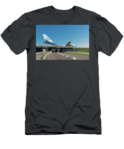 Men's T-Shirt (Slim Fit) featuring the photograph Airplane Over Highway by Hans Engbers