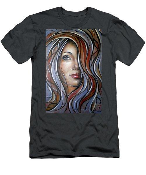 Cool Blue Smile 070709 Men's T-Shirt (Slim Fit) by Selena Boron