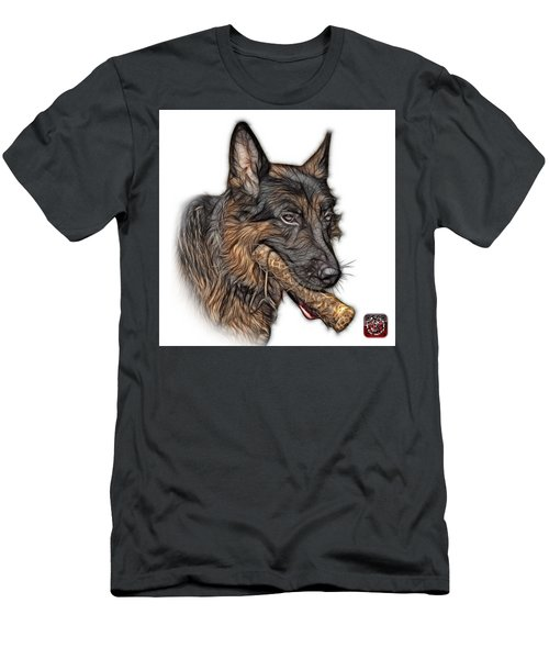 Men's T-Shirt (Slim Fit) featuring the digital art German Shepherd And Toy - 0745 F by James Ahn