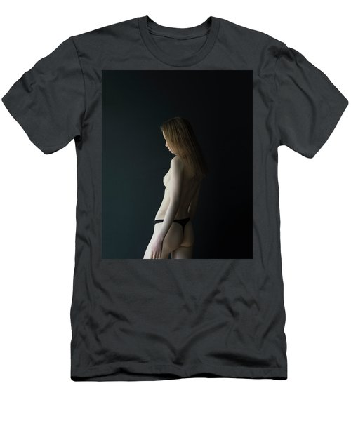 Girl In Front Of Black Wall Men's T-Shirt (Athletic Fit)