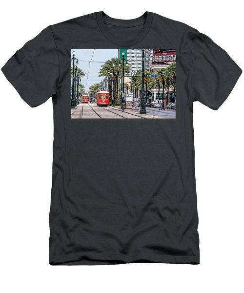 Men's T-Shirt (Slim Fit) featuring the photograph New Orleans Canal Street Streetcars by Andy Crawford