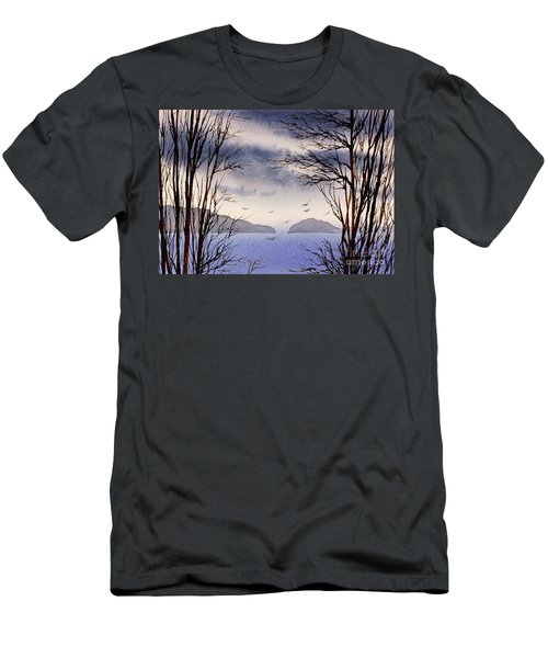 Men's T-Shirt (Slim Fit) featuring the painting Quiet Shore by James Williamson