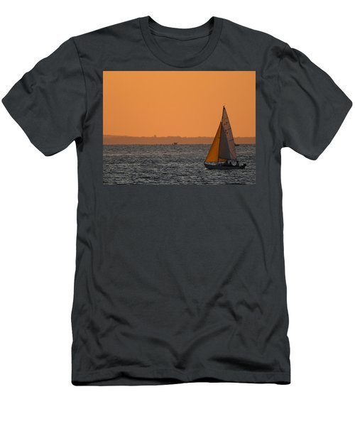 Sailboat Mount Sinai New York Men's T-Shirt (Slim Fit) by Bob Savage